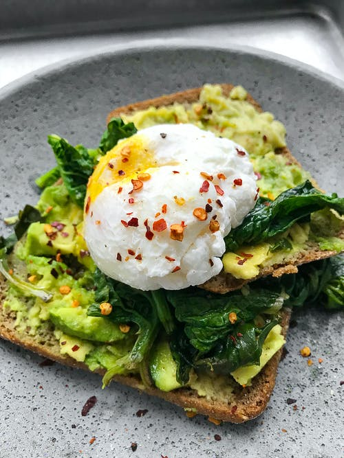 break and poached eggs