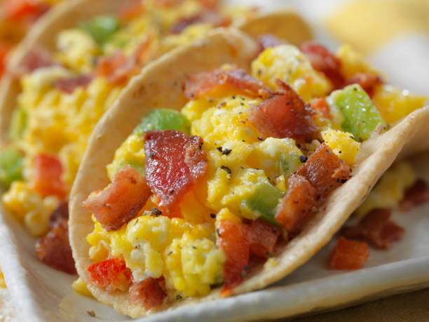 Small 4inch Soft Breakfast Tacos, Scrambled Eggs with Cheddar Cheese, Red, Green Peppers and Bacon