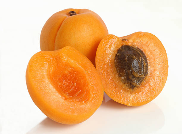Stone Fruit - Two apricots, one cut in half to reveal stone