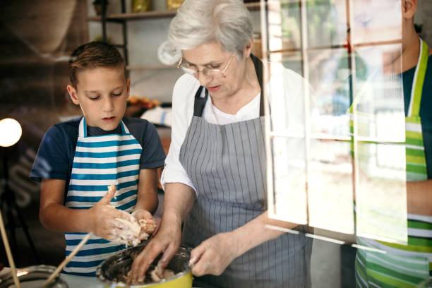grandmother teaching ways to cook an egg