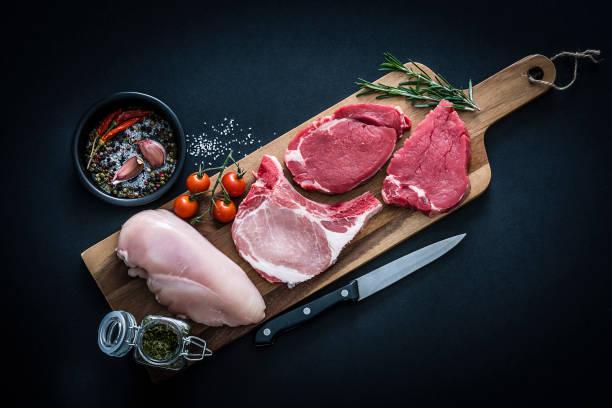 fillet steak, chicken breast and pork chops