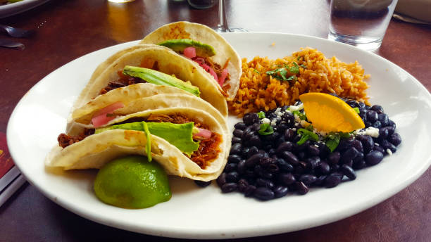 avocado tacos with black beans and rice